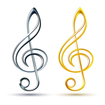 Gold and silver treble clef on white background,
