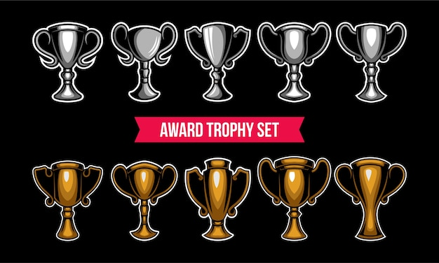 Gold and silver trophy vector set