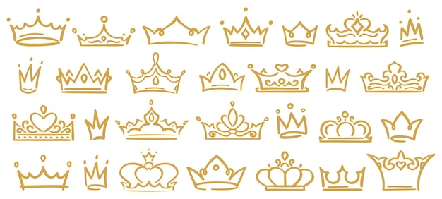 Gold sketch crowns, hand drown royal diadems for queen, princess, winner or champion