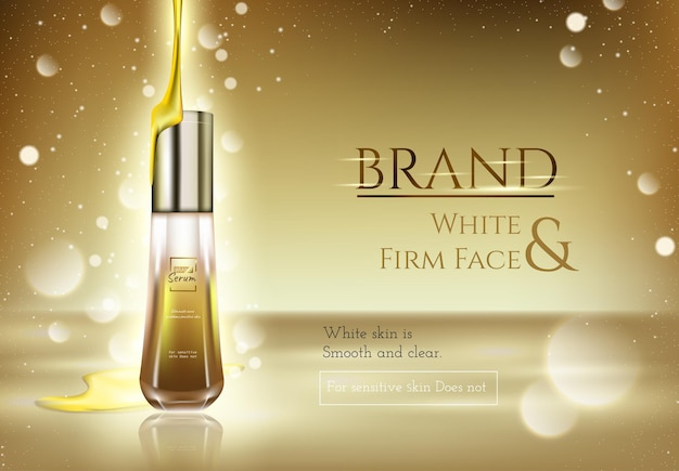 Gold skin care essence with gold light effect and gold background, 3d illustration