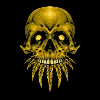 Gold skull cannabis weed leaves vector illustrations for your work logo, mascot merchandise t-shirt, stickers and label designs, poster, greeting cards advertising business company or brands.