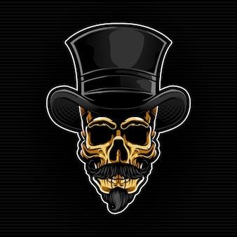 魔術師の帽子とゴールドのスカルヘッド
