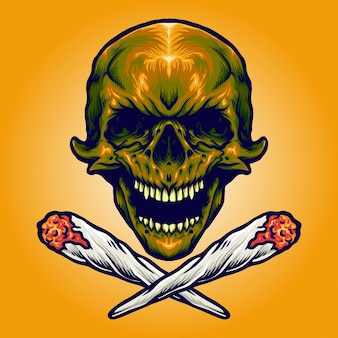Gold skull smoking marijuana vector illustrations for your work logo, mascot merchandise t-shirt, stickers and label designs, poster, greeting cards advertising business company or brands.