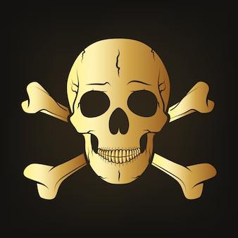 Золотой череп со скрещенными костями. векторная иллюстрация