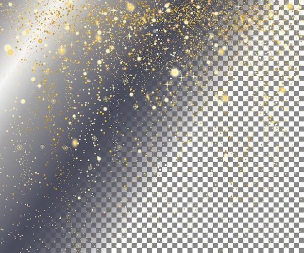 Gold snow on transparent