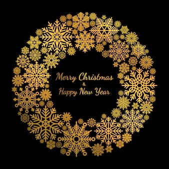 Gold snowflake christmas wreath isolated on black
