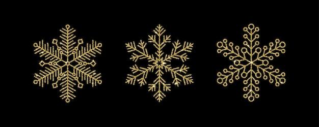 검은 배경에 분리된 고급 반짝이 효과와 밝은 반짝임이 있는 금 눈송이. 새해 또는 크리스마스 디자인을 위한 매력적인 벡터 요소입니다.