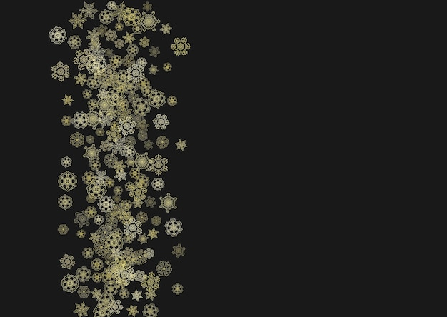 Gold snowflakes frame on black background. new year theme. horizontal shiny christmas frame for holiday banner, card, sale, special offer. falling snow with gold snowflake and glitter for party invite
