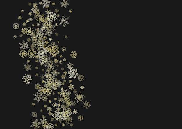 黒の背景にゴールドの雪片フレーム。新年のテーマ。ホリデーバナー、カード、セール、特別オファーのための水平方向の光沢のあるクリスマスフレーム。パーティーの招待状にゴールドのスノーフレークとキラキラと降る雪