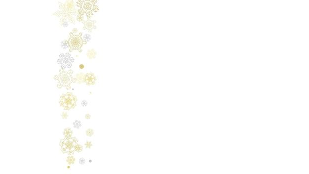 Золотая рамка снежинки на черном фоне. новогодняя тема. горизонтальная блестящая новогодняя рамка для праздничного баннера, открытки, распродажи, специального предложения. падающий снег с золотой снежинкой и блеском для приглашения на вечеринку