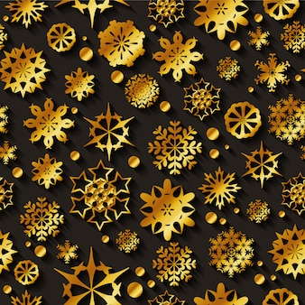 Gold snowflakes seamless vector pattern