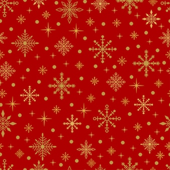 Gold snowflakes and stars on a red background. vector seamless christmas pattern.