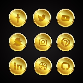 Gold social media icons collection