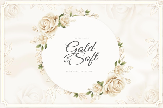 Gold and soft flower frame background