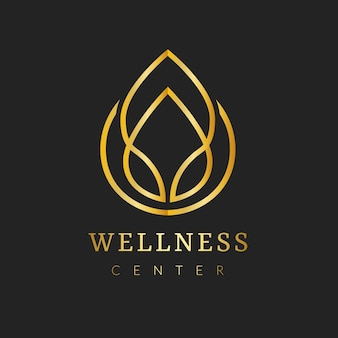 ゴールドスパロゴテンプレート、美的健康とウェルネスビジネスブランディングデザインベクトルセット