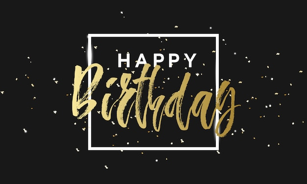 Gold sparkles happy birthday card