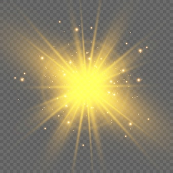 Gold sparkles, magic, bright light effect on a transparent background. gold dust.