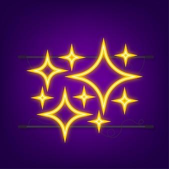 ゴールドの輝きのシンボルベクトル。ネオンアイコン。オリジナルのベクトル星のセットは、アイコンを輝かせます。ベクトルイラスト。
