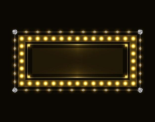 Gold sparkling neon frame