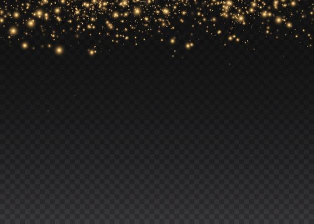 金色の火花と金色の星が特別な光の効果を輝きます。透明な背景の上で輝きます。クリスマスの要約。ほこり