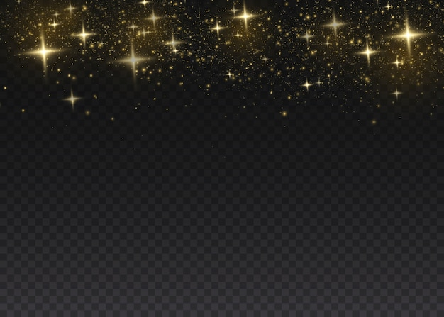 金色の火花と金色の星が特別な光の効果を輝きます。透明な背景の上で輝きます。ほこり