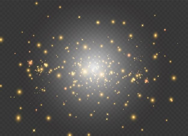 金色の火花と金色の星が特別な光の効果を輝きます。スターダスト