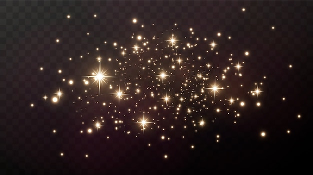 Gold sparks and gold stars sparkle with a real light effect. the explosion of the golden confetti.