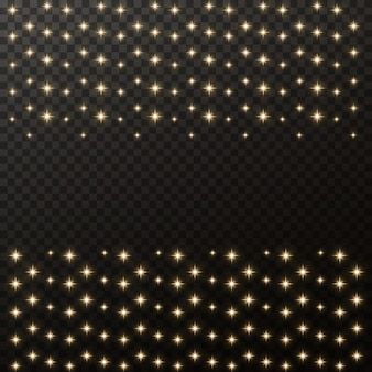 Gold sparks and gold stars sparkle with a special light effect.