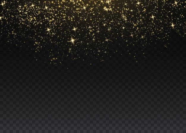 Gold sparks and golden stars glitter special light effect. sparkles on transparent background.