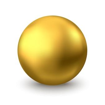 金の球。白い背景で隔離の油の泡。金色の光沢のある3dボールまたは貴重な真珠。黄色の血清またはコラーゲンが低下します。スキンケア化粧品パッケージのベクトル装飾要素。