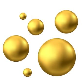 골드 구입니다. 기름 거품 흰색 배경에 고립입니다. 황금 광택 3d 공 또는 귀중한 진주. 노란색 혈청 또는 콜라겐이 떨어집니다. 스킨케어 화장품 패키지의 벡터 장식 요소입니다.