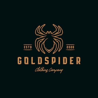 Gold spider vintage logo template