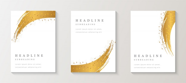 Gold splash cover background set premium vector
