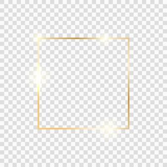 Золотая квадратная рамка. золотая роскошная граница линии свечения. золотая блестящая светящаяся винтажная рамка с тенями, изолированные на прозрачном фоне.