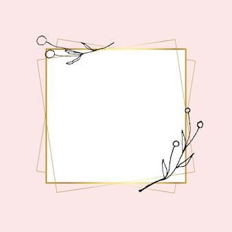 シンプルな花の描画と金の正方形のフレームベクトル