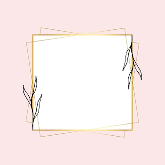 Cornice quadrata dorata con semplice disegno floreale