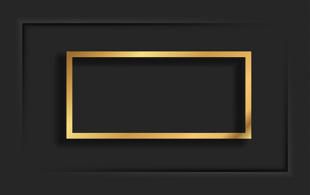 Gold square vintage frame with shadow on black background. golden luxury rectangular border - realistic illustration