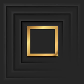 Gold square vintage frame with shadow on black background. golden luxury rectangular border