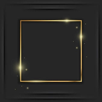 Gold square vintage frame with shadow on black. golden luxury rectangular border