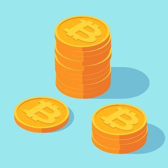 Bitcoins cryptocurrency 동전의 골드 스택.