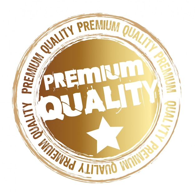 Gold stamp premium quality isolated