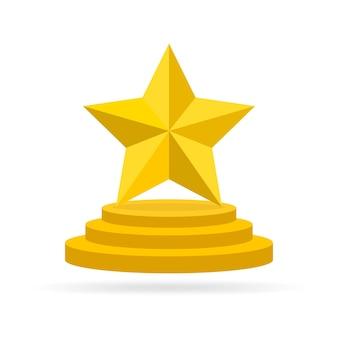 Gold star award on blank trophy