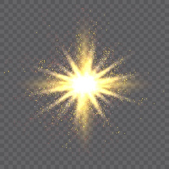 Gold star burst and glowing particles