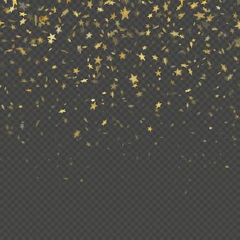 Gold star confetti rain festive pattern effect. golden volume stars falling down isolated on black background.