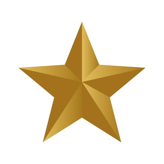Gold star for decoration isolated on white background