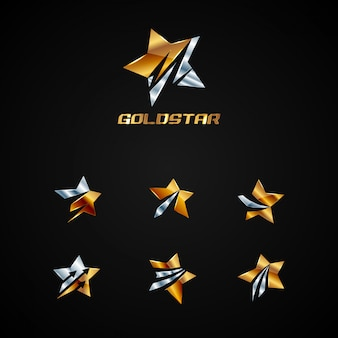 Gold star logo collection