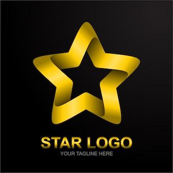 Золотая звезда логотип с градиентом