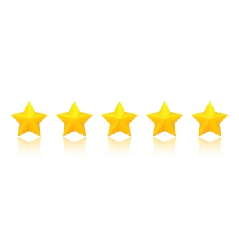 Gold star rating with reflection.