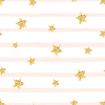 Gold star -seamless pattern. cute illustration.