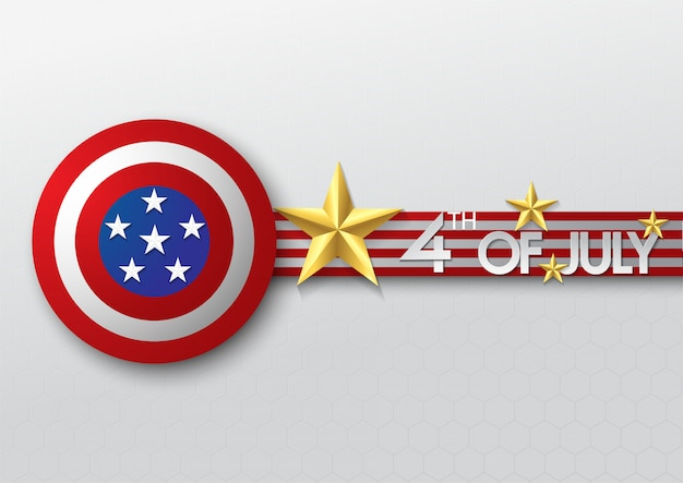 Gold star and shield of independence day usa celebration banner template